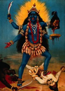 V0045118 Kali trampling Shiva. Chromolithograph by R. Varma. Credit: Wellcome Library, London. Wellcome Images images@wellcome.ac.uk http://images.wellcome.ac.uk Kali trampling Shiva. Chromolithograph by R. Varma. By: Ravi VarmaPublished: - Copyrighted work available under Creative Commons by-nc 2.0 UK, see http://images.wellcome.ac.uk/indexplus/page/Prices.html